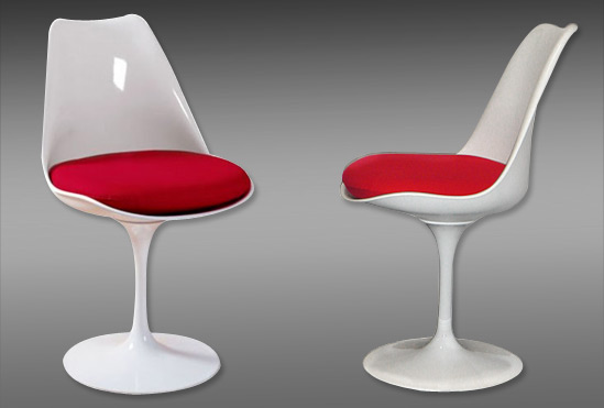 Chaise tulipe blanc avec coussin rouge for Chaise tulipe