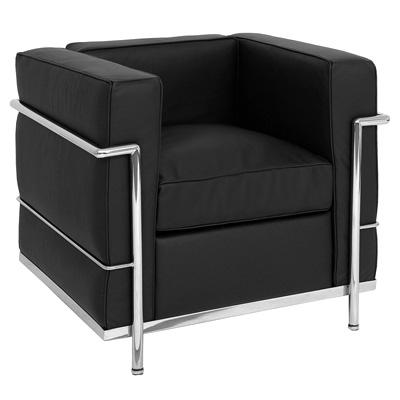 fauteuil type lc2 corbusier cuir noir discount design. Black Bedroom Furniture Sets. Home Design Ideas