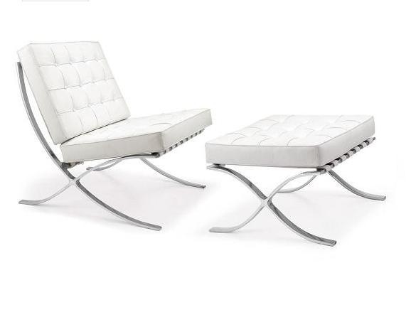 fauteuil barcelona cuir blanc ottoman discount design