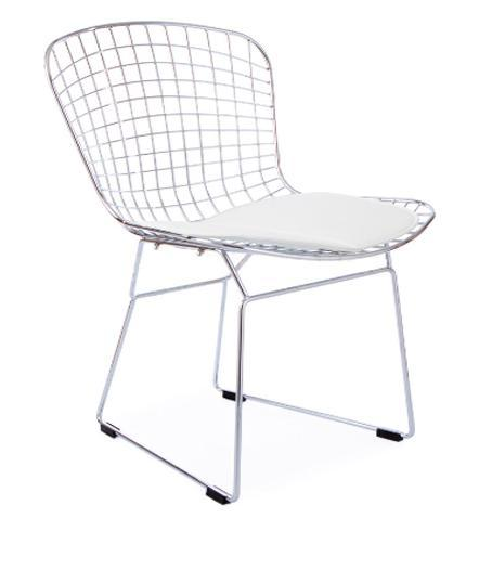 Chaise Diamond Harry Bertoia Avec Coussin Blanc Discount Design