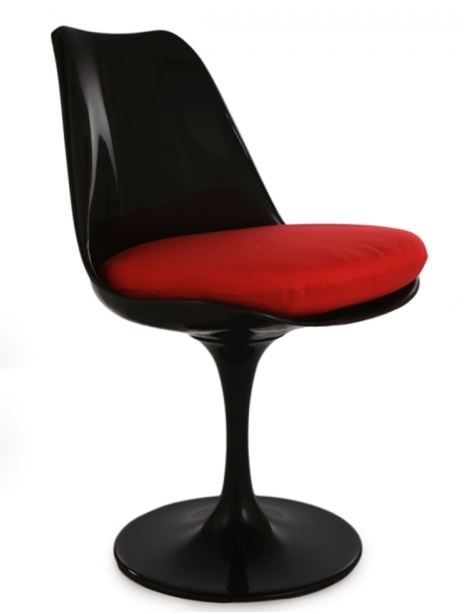 chaise tulipe noir avec coussin rouge discount design. Black Bedroom Furniture Sets. Home Design Ideas