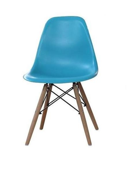 Lot de 4 chaises charles eames dsw discount design for Chaise eames bleu canard