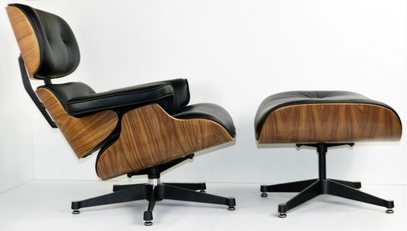 fauteuil lounge ottoman eames en cuir noir et bois noyer. Black Bedroom Furniture Sets. Home Design Ideas