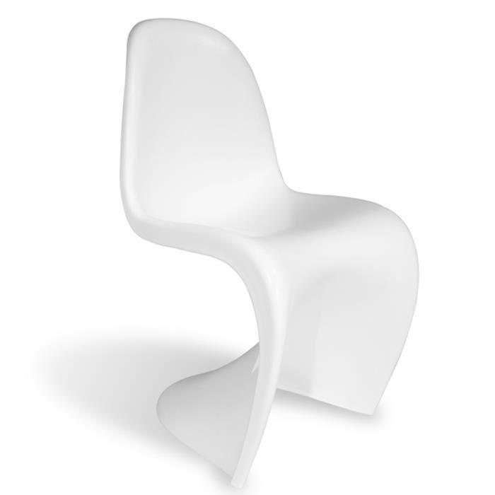 6 Chaises Type Panton Blanc Brillant Laque