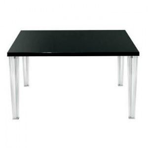 table carré design noire type Top Top avec pieds transparents