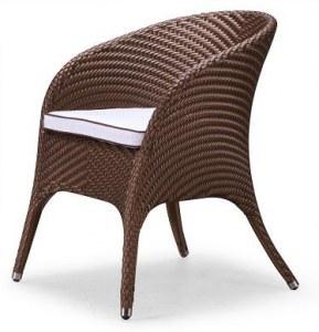 Lot de 2 chaises en resine tressee design bi-color marron