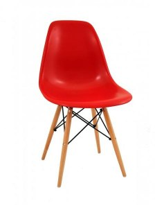 Lot de 4 chaises Charles EAMES DSW rouge