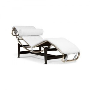 chaise longue style le corbusier en cuir blanc discount design. Black Bedroom Furniture Sets. Home Design Ideas