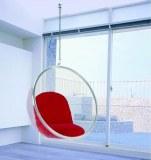 fauteuil bubble chair avec coussin rouge