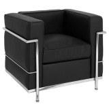 Fauteuil LC2 type Le Corbusier cuir noir italien