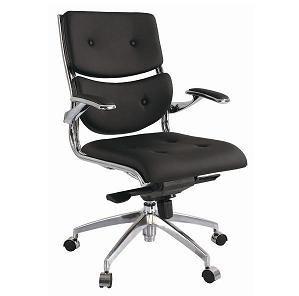Fauteuil de bureau MEGA design en cuir noir
