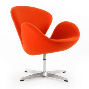 Fauteuil swan orange type Jacobsen