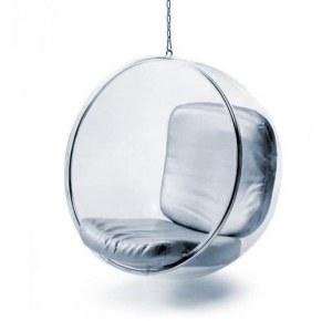 fauteuil bubble chair avec coussin gris