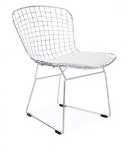 chaise diamond harry bertoia avec coussin blanc discount design. Black Bedroom Furniture Sets. Home Design Ideas