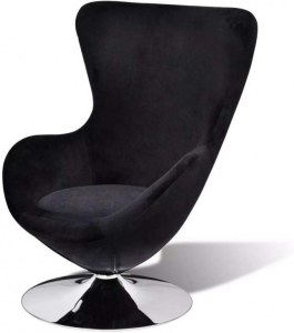 Fauteuil design Cocoon avec revetement noir oeuf