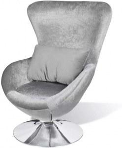 Fauteuil design Cocoon avec revetement gris oeuf