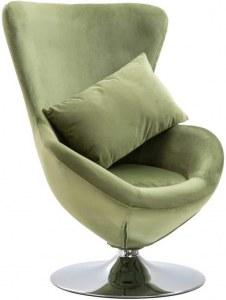Fauteuil design Cocoon avec revetement vert oeuf