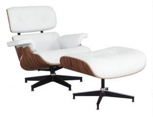 Fauteuil Lounge + ottoman Eames en cuir blanc avec pied noir et chrome