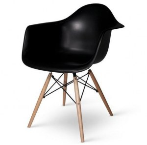 Lot de 6 fauteuils DAW noir type Charles Eames
