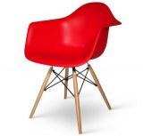 Lot de 4 fauteuils Charles EAMES DAW rouge