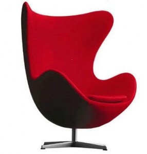 Fauteuil egg rouge style Jacobsen