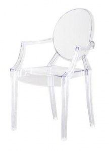 4 fauteuils type Ghost transparents en polycarbonate