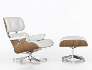 Fauteuil Lounge + ottoman Eames en cuir blanc et pieds chromés