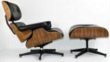 Fauteuil Lounge + ottoman Eames en cuir noir et bois noyer
