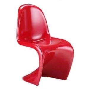 4 Chaises en S style Panton rouge brillant laqué