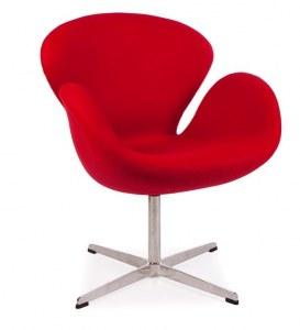 Fauteuil swan rouge type Jacobsen
